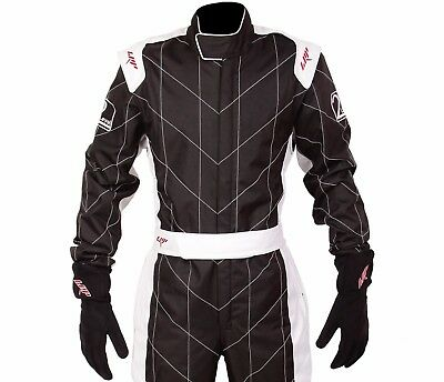 LRP Adult Kart Racing Suit Black and White - Speed Suit CIK/FIA Level 2 Rated