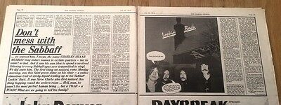 BLACK SABBATH 'don't mess with SABBATH' 1974  3 page UK ARTICLE / clipping
