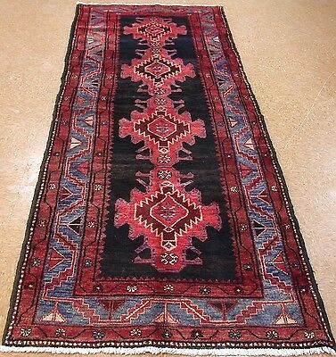 PERSIAN KELARDASHT Tribal Nomadic Hand Knotted Wool  NAVY RED RUNNER Rug 4 x 10