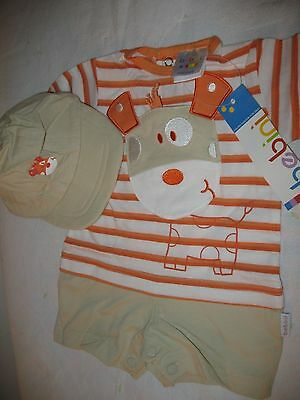 Baby Boys Clothes Very Cute 2pc. Romper & Hat Set by Bebini Size 3 Months NWT