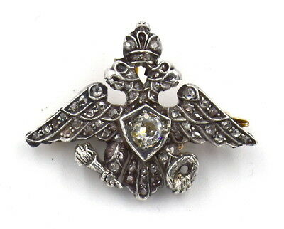 Antique Diamond Imperial Russian Pin Brooch 14K Gold