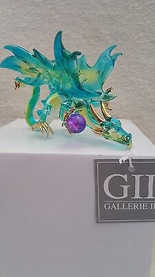 Glass Blown Dragon, 4In Figurine, Ornament, By Gallerie Ii New In Box!