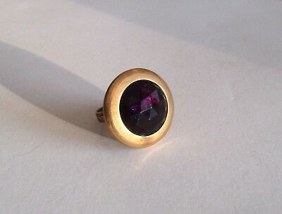 Victorian Amethyst Glass Adjustable   Button Ring