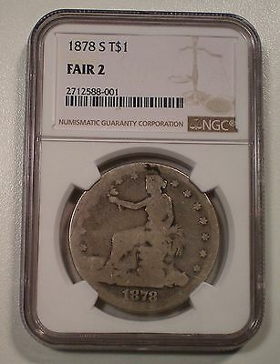 1878-S TRADE SILVER DOLLAR LOWBALL COIN NGC FAIR 2 NONE LOWER ASPIRES to be PO 1