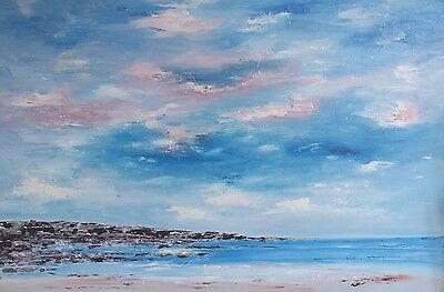 LARGE ORIGINAL ABSTRACT CONTEMPORARY MODERN SEASCAPE PAINTING 90x60cm box canvas