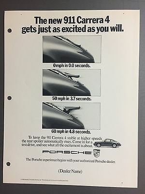 1989 / 1990 Porsche 911 Carrera 4 Advertising Slick (Ad Slick) Print Poster RARE