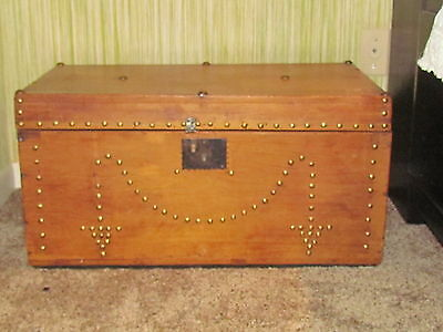 VINTAGE STAGECOACH trunk / chest brass studded sqaure nails pine