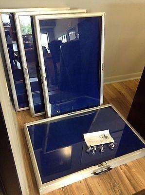 Allstate Card/Coin/Jewelry Display Show Case Lot Of 4 WITH BLUE VELVET LINERS