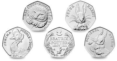 UK Cheapest Circulated Beatrix Potter 50p Coin Sets.JEMIMA, RABBIT,NUTKIN,TIGGY.