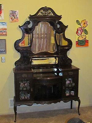 ANTIQUE breakfront / etagere / china cabinet ebonized mahogany HIGHLY carved 90""