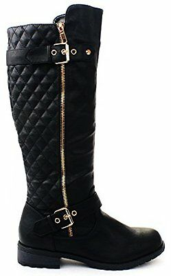 Forever Women's Winkle Back Shaft Side Zip Knee High Flat Riding Boots