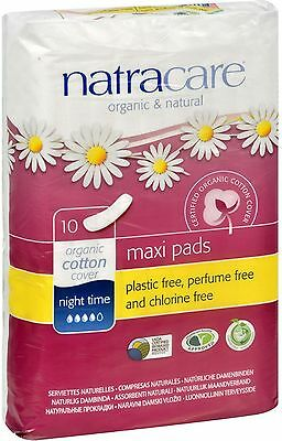 Natracare Organic Cotton Natural Feminine Night Time Maxi Pads, Long 10 ea