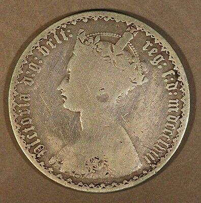 1853 Great Britain Gothic Florin Circulated            ** FREE U.S. SHIPPING **