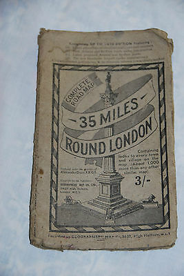 VINTAGE - COMPLETE ROAD MAP - 35 MILES ROUND LONDON - on cloth.