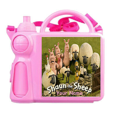Shaun The Sheep Lunch Box  Pink Or  Blue With Drink  Bottle Personalise Free