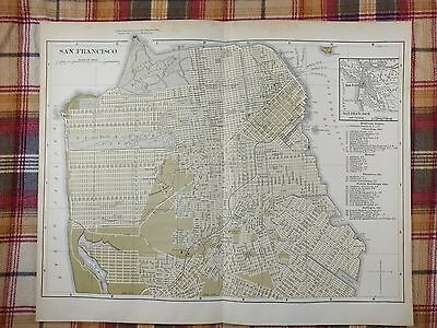 1896 SAN FRANCISCO Map Antique Original Johnsons Vintage Oakland Railroad MAPZ5
