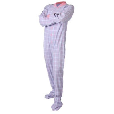 b8df2cf3c8b8 BABY BLUE AND Pink Flannel Adult Footed Pajamas Footie Drop Seat ...