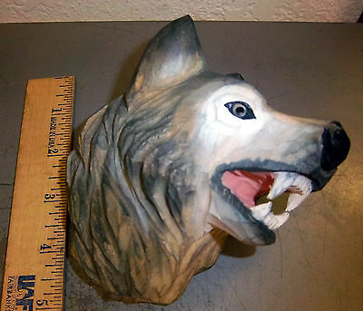 Carved Wood Wolf Head Wall Hanger, unique home decor item for home/cabin