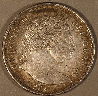 1817 Great Britain 1/2 Crown Silver Reverse Rim Damage  ** FREE US SHIPPING **