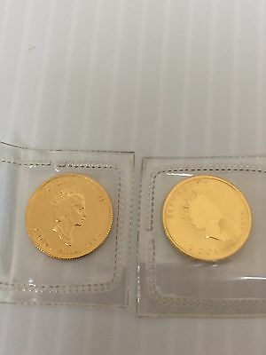 (2) 1994 1/15th oz .9999 Gold Candian Maple Leaf $2 Coins
