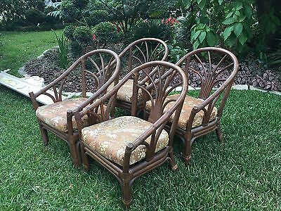 Vtg Pair McGuire Furniture - Rattan Bamboo Club Chairs  2 Sets Available
