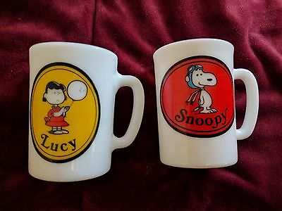 Avon Snoopy and Lucy milk glass cup mug liquid soap