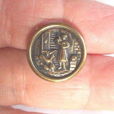 Vintage/antique Metal Picture Button Girl Feeding Chickens #842