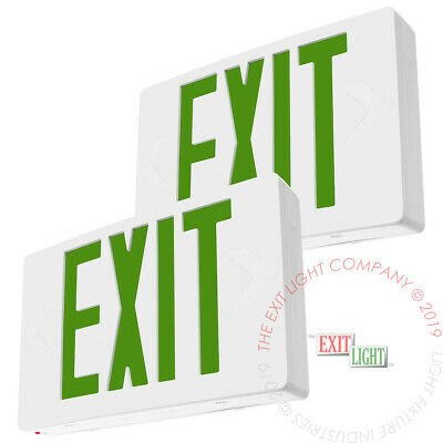 2Pack Green LED Emergency Exit Light Sign - Battery Backup UL924 Fire - LEDGBB