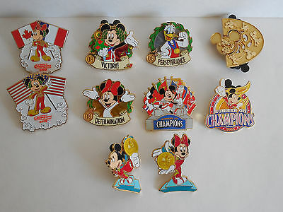 Lot of 10 Disney Olympics Pin Mickey Minnie Mouse Donald Duck 2008 Pins Sports