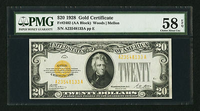 U.S.  1928 $20 Gold Certificate Fr. 2402, Certified PMG Choice About Unc. 58-EPQ