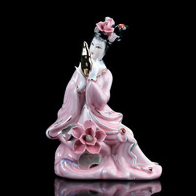 Chinese Exquisite Famille Rose Porcelain Painted Beautiful Gril Statue
