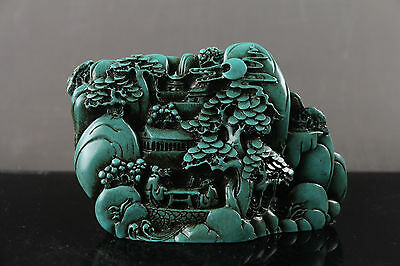 Tibet Collectable Chinese resin Hand-carved Moutain & Man  Statue