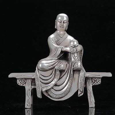 Chinese cupronickel  Hand Carved The Three Eyes Monk Sat On Chair Statue