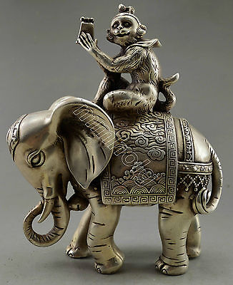 Collectible Decorate Old cupronickl  Monkey Hold Seal Officer Elephant Statue