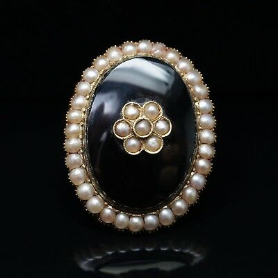 Antique Late Victorian Onyx & Mabe Pearl Cocktail Ring 10k Yellow Gold