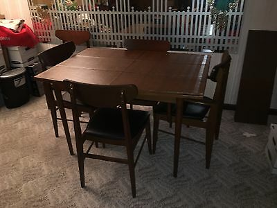 Vintage Danish Dining Room Set table & chairs Hutch Server