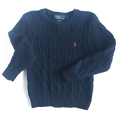 Ralph Lauren Polo Boys Toddler Kids Cable-Knit Cotton Sweater, Navy, 4T - EUC!