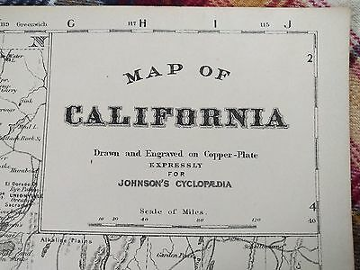 1876 CALIFORNIA Map Antique Original Johnsons Sacramento Gold Rush RR MAPZ5