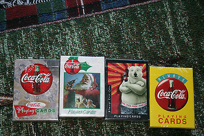 4 Vintage 1994- 97-98-99   Coca Cola Playing Cards Factory Sealed New