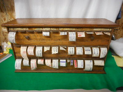Antique Oak Pharmacy Apothecary Label Dispenser L@@K