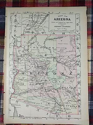 1876 ARIZONA Map Antique Original Johnsons Phoenix Copper-Plate Engraving MAPZ3