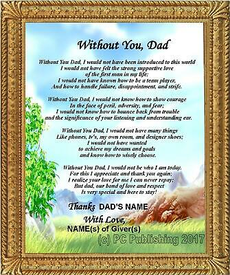 """God/'s Masterpiece/"""" Gift For Father/'s Day Birthday Personalized Dad Poem /""""Dad"""