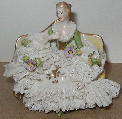Vtg Dresden Muller?Unter Weiss? PORCELAIN LACE SITTING LADY Figurine~3in~GERMANY