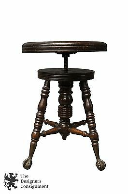 Antique Round Piano Stool ca.1892 Rotating Adjustable Brass Ball and Claw Foot