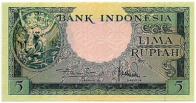 Indonesia 5 Rupiah 1957 (P-49) Stunning and Highly Collectible!!