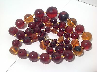 "Antique Natural Baltic Amber Necklace Graduated Beads 31"" 63g Chinese"
