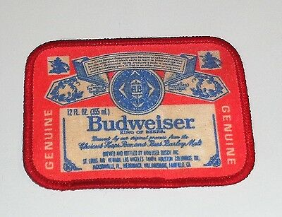 """VINTAGE 1970s Shld BUDWEISER EMBROIDERED SEW ON PATCH 4 5/8"""" X 2 5/8"""""""