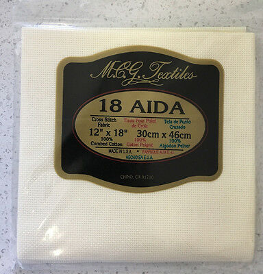 "18 count Ivory Aida Cloth - 30cm x 46cm - 12"" x 18"""