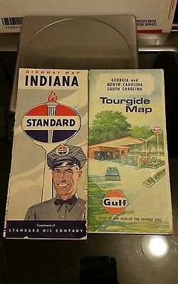 2 Vintage gasoline theme road maps. Standard oil and GULF oil.