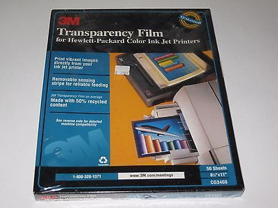 3M Transparency Film for HP Hewlett-Packard Color Ink Jet Printers 50 CG3460 New